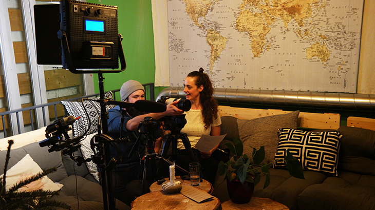 Filming team of Veenity sitting in the lounge of restaurant pure to grab the interview.