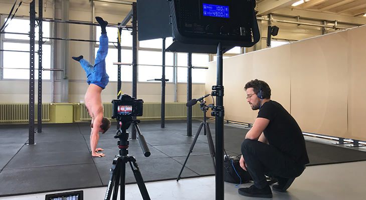 Matthias performing a hand stand